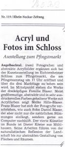 Aus der Presse: Zeitungsartikel Ausstellung Meike Hille-Blaser, Franz Blaser, Daniel Blaser, Dieter Köster im Rahmen der Pfingstmarkt-Ausstellung im Schloss Angelbachtal