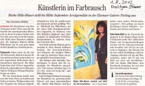 Aus der Presse: Zeitungsartikel Ausstellung Meike Hille-Blaser in der Galerie Nieling / Weingut Hockenberger Elsenz