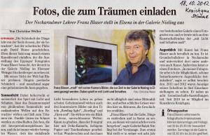 Aus der Presse: Zeitungsartikel Ausstellung Franz Blaser in der Galerie Nieling / Weingut Hockenberger Elsenz