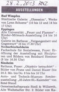 Aus der Presse: Zeitungsartikel Ausstellung Franz Blaser, Daniel Blaser im Rathaus Sinsheim