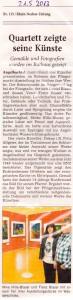 Aus der Presse: Zeitungsartikel Ausstellung Meike Hille-Blaser, Franz Blaser, Daniel Blaser, Fritz Allgeier im Rahmen der Pfingstmarkt-Ausstellung im Schloss Angelbachtal