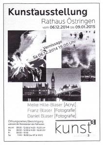 Zeitungsanzeige Ausstellung Meike Hille-Blaser, Franz Blaser, Daniel Blaser im Rathaus Östringen