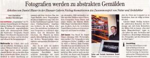 Aus der Presse: Zeitungsartikel Ausstellung Daniel Blaser in der Galerie Nieling / Weingut Hockenberger Elsenz